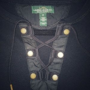 Ralph Lauren Black Corset Neck Tee size: Medium